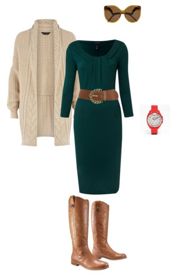 I think this could really be a fairly business outfit (again depending on what you're doing). With the longer dress, I'd still say wear tights to kind of bridge the gap between the boots and the dress.: Work Clothes, Fashion, Style, The Dress, Bel