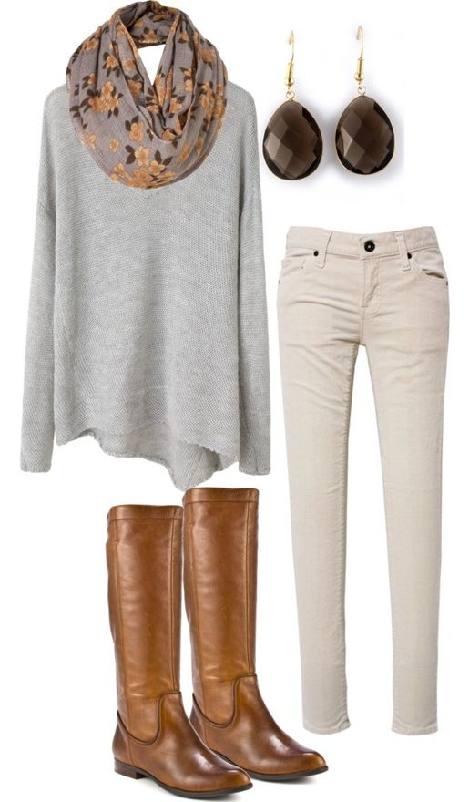 i wish i could pull off the oversized sweater but i jsut look frumpy :( but this outfit is cute either way: Fall Style, Fall Casual, Fall Outfits, White Pants Fall Outfit, Moda Casual Invierno, Fall Fashion, Fall Winter Outfits, Off White Pants Outfit