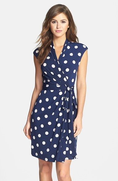 Love its timeless femininity. Would prefer it in a color other than blue. Eliza J Polka Dot Jersey Faux Wrap Dress available at #Nordstrom: Pattern Dress, Vestidos Casuales Outfits, Wrap Dress, Wedding Outfit, Casual With