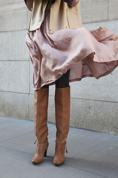 lovely colors and textures for fall #fashion: Knee High, Fashion, Style, Tall Boots, Dress, Outfit, Knee Boots