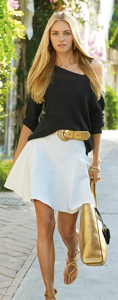 Summer metallic accessories: Ralph Lauren, Fashion, Street Style, Dress, Spring Summer, Outfit, Black White, Ralphlauren