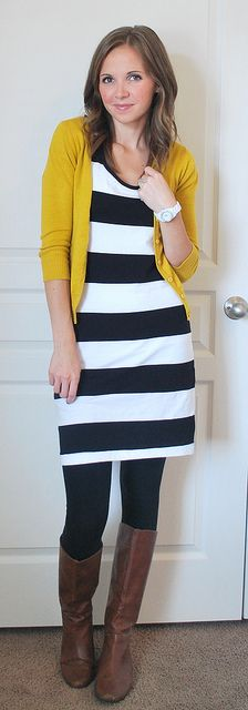Very doable,  the outfit that is. I mean she's great to but I'm married.                Striped dress, mustard cardi, brown boots with tights. Yes!: Cute Fall Outfits, Summer Dress, Idea, Color, Teacher Outfit, Brown Boots, Work Outfits, Fall Wint