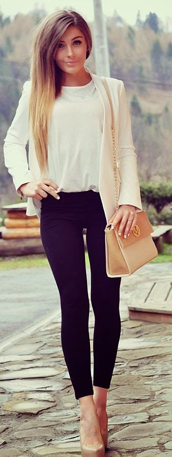 Very glam. The white and beige combo makes this outfit classy.: Classy Outfit, Classy Black And White Outfit, Trendy Outfit, Neutral Outfit Idea, Beige And Black Outfit, Date Outfit, Work Outfit, Beige Outfit, Classy Black Outfit