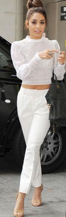 We hear from the street that white-on-white outfits will be white-hot this summer.  This outfit hits all points: lace, crop top, ankle pants, all in summer white.: Vanessa Hudgens, Fashion, All White Outfit, Hudgens White, Lace Top, White Outfits, Street