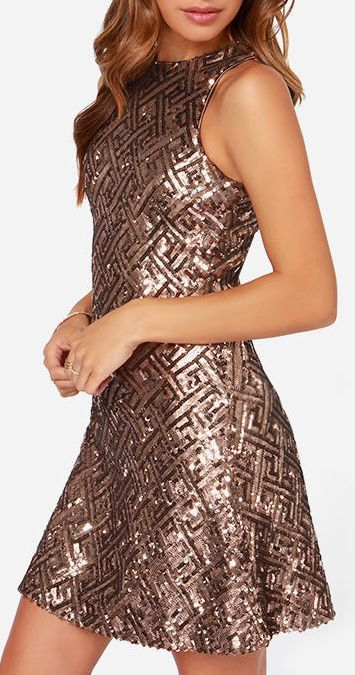 Dress the Population Mia Bronze Sequin Dress