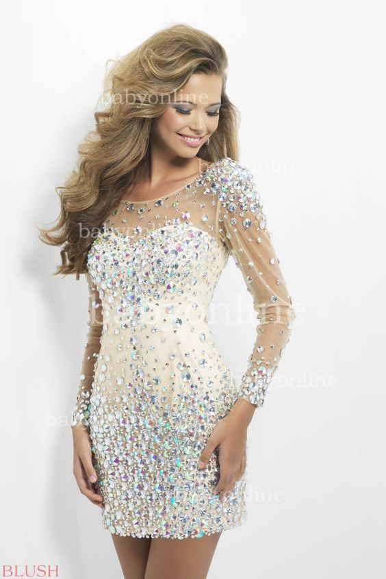 Sexy Homecoming Dresses Long Sleeves Round Neck Crystal Beaded Backless Tulle Short Cocktail Party Dresses