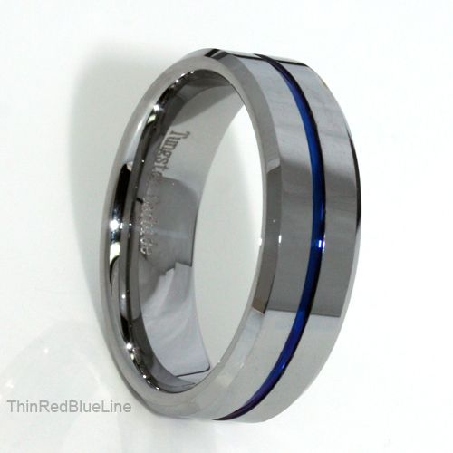 $30 Thin Blue Line Tungsten Carbide Ring Blue IP Beveled Edges 8MM Donations made to firefighter and police charities