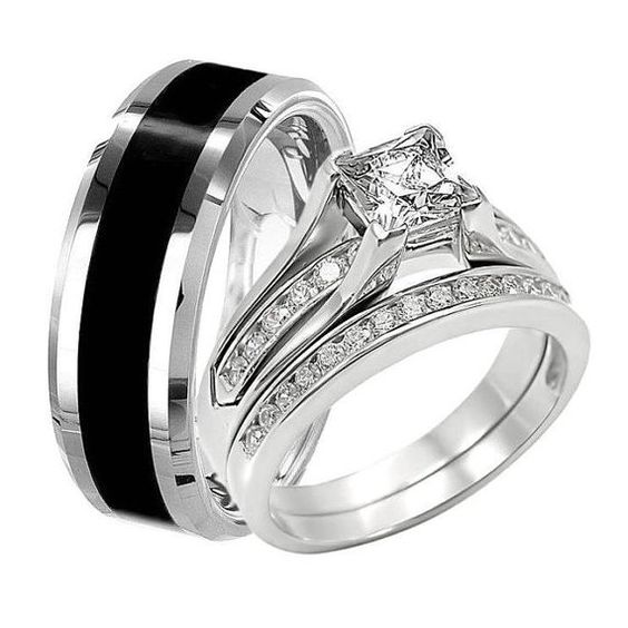 Black TUNGSTEN Men Wedding Band 8mm wide & Women PRINCESS Cut Clear CZ Stone Stainless Steel Engagement Ring Set For Her Him His Carbide New
