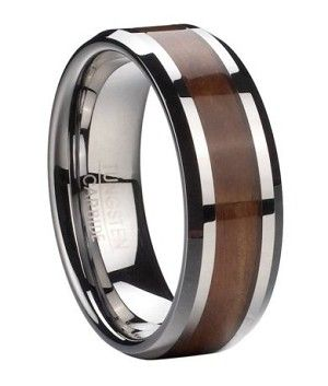 Classic yet utterly unique, this men's tungsten ring with Koa wood inlay offers a handsome alternative to more traditional wedding bands. Rich Koa wood runs eternity style down the center of this men's ring, and is perfectly highlighted by polished bevele