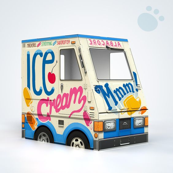 "OTO Ice Cream Truck for Cats! ~ ""Why should kids have all the fun? OTO Ice Cream Truck is now available in cat size! This little beast looks just like the kid-size one, except that it's small and rocks fish flavors."" ~ Adorable!"