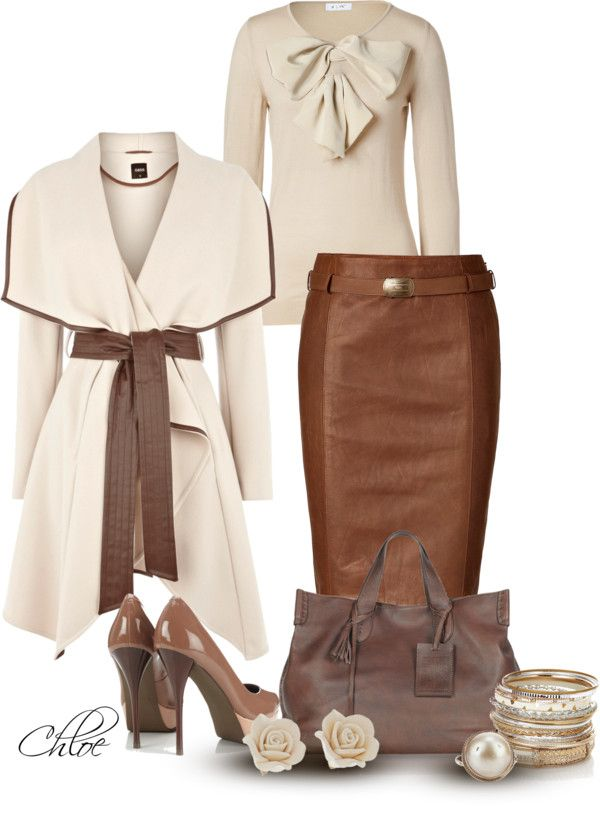 """""""Coat Crave"""" by chloe-813 ❤ liked on Polyvore: Coat Crave, Professional Women, Style, Leather Skirts, Romantic Outfit, Chic Professional, Brown Skirt Outfit, Work Outfits, Polyvore Skirt Outfits"""