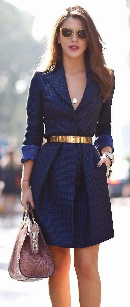Women's fashion   Blue textures coat http://thepageantplanet.com/category/pageant-wardrobe/: Navy Blue Dresses, Fashion Work Outfit, Fashionable Work Clothes, Fashion Outfits Women, Outfit Dresses