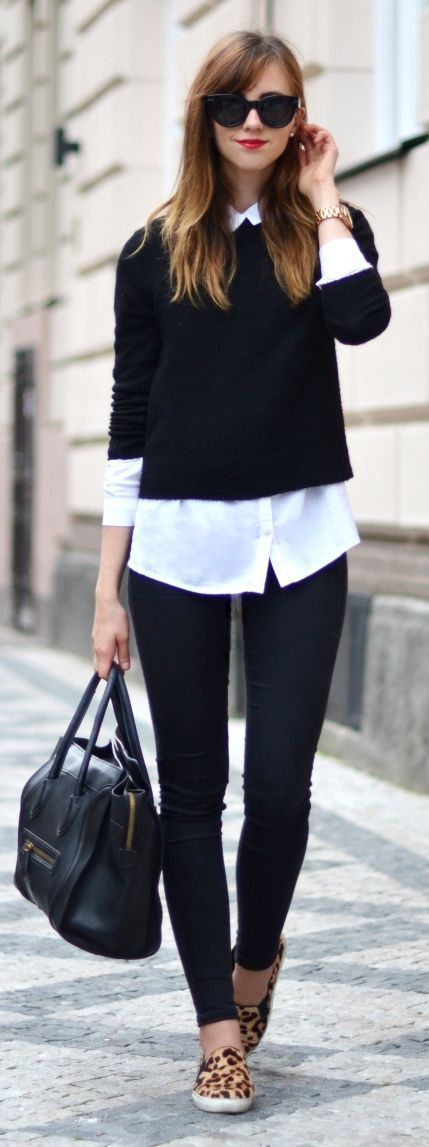 black sweater and white button-down top