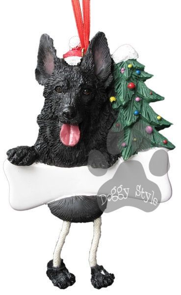 Dangling Leg German Shepherd Black Dog Christmas Ornament http://doggystylegifts.com/products/dangling-leg-german-shepherd-black-dog-christmas-ornament