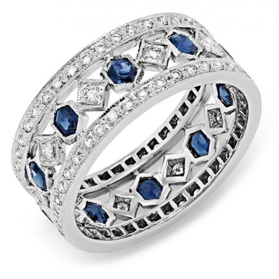 https://www.bkgjewelry.com/emerald-rings/610-18k-yellow-gold-diamond-emerald-solitaire-ring.html Diamond and Blue Sapphire Ring