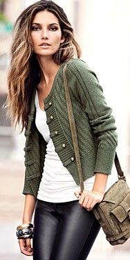 love it. Great cardigan... not sure I'm brave enough for pants like that, but the combo is perfectly casual-sexy.  Love
