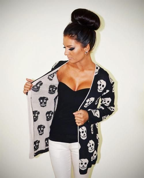 Skull cardigan rockabilly punk goth casual style outfit... WHERE DO I FIND THIS?