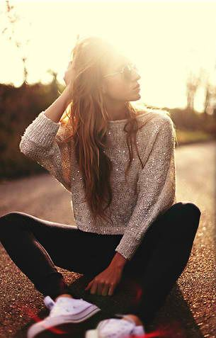 sparkle sweater and converse