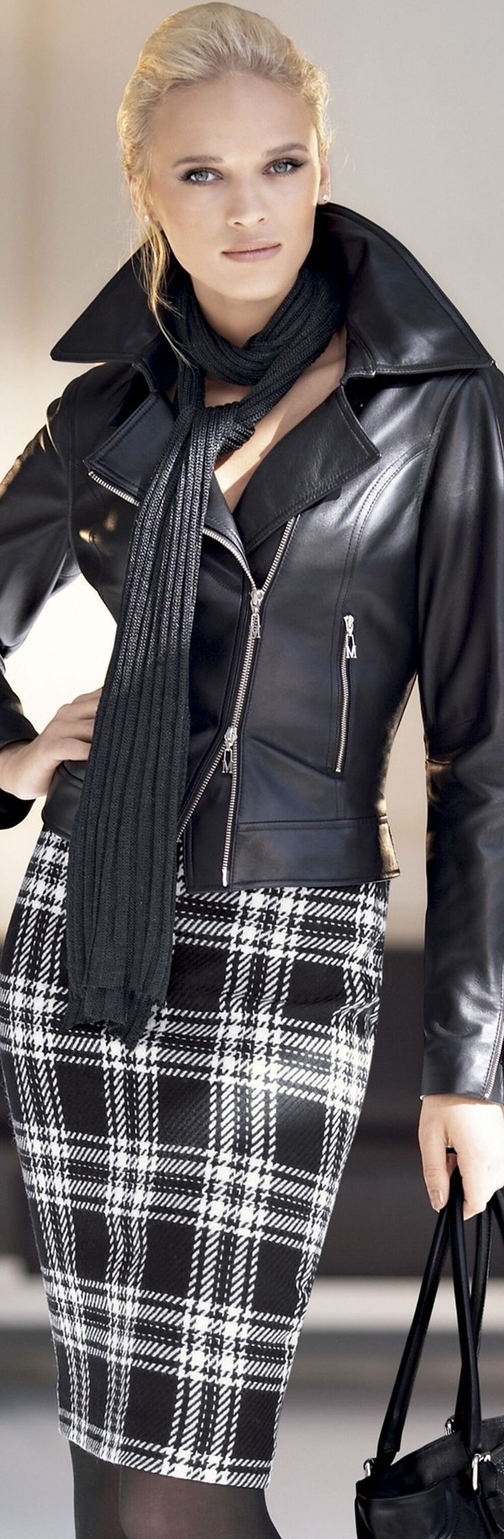 Anna Tokarska for Madeleine collection. OK not for an interview unless it's Cosmo, but I love this edgy look: Black Leather Jackets, Plaid Skirt Black And White, Plaid Skirt Outfit Fall, Plaid Skirts, Fashion Style, Black And White Plaid Outfit, Black