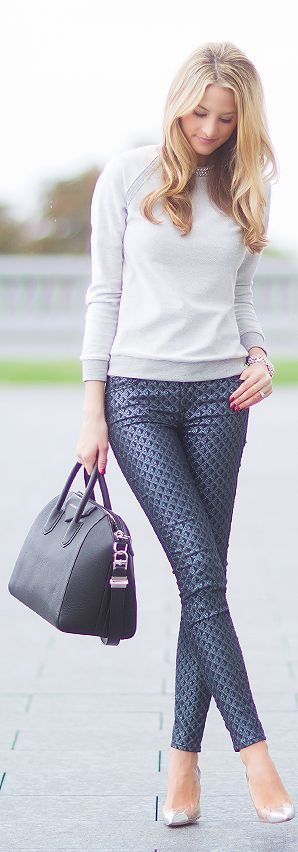 Classic Look: Printed Pants, Fashion Style, Street Style, Patterned Pants, Work Outfits, Fall Winter