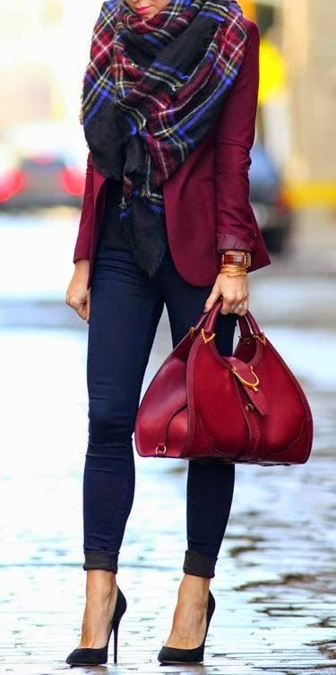 Maroon blazer very cute! CHIC LARGE RED CAMEL NAVY GREEN PLAID CHECKED TARTAN SCARF WRAP SHAWL: Outfit Idea, Blanket Scarf, Burgundy Blazer, Street Style, Fall Outfits, Winter Outfits, Fall Fashion, Fall Winter, Plaid Scarf