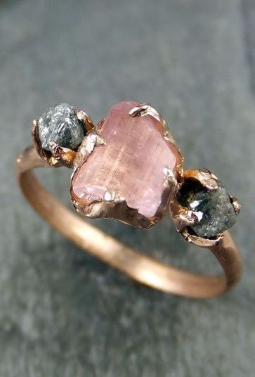 "ACCESSORIES: Sela S/S'15 ring ""raw stones"": Gemstone Engagement Ring, Jewel, Raw Stones, Pink Tourmaline, Stone Rings, Rose Gold, Bling Bling, Engagement Rings"