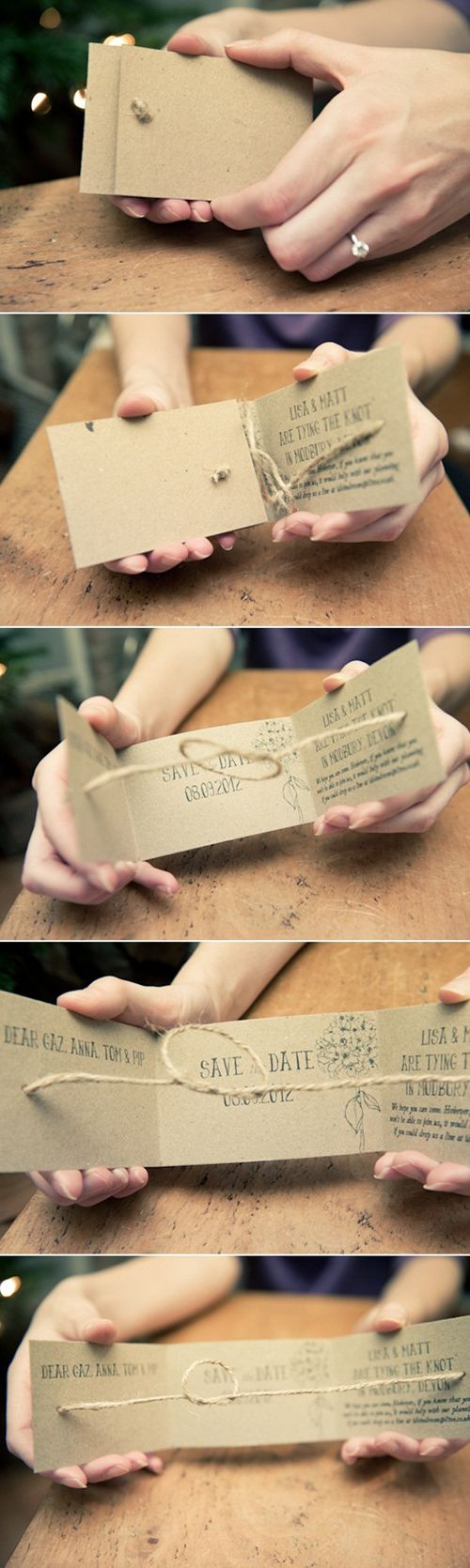 "Cute and genius idea...DIY ""Tie the Knot"" Save the Dates."