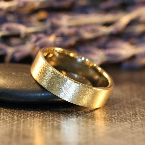 Mens Comfort Fit Wedding Band 14k Yellow Brushed by LaMoreDesign, $598.00