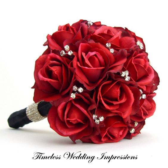 Red rose bouquet with bling