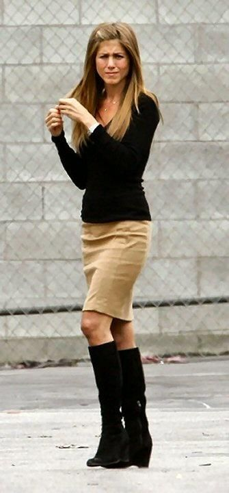 black sweater / khaki skirt / suede black boots / outfit: Black Top, Jennifer Aniston, Black Pencil Skirt Outfit, Pencil Skirts, Pencil Skirt Black, Black Boots Outfit, Tan Pencil Skirt