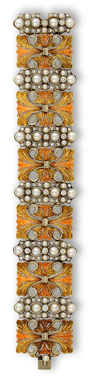 An eighteen karat tricolor gold, cultured pearl and diamond bracelet, Buccellati  the wide bracelet comprising six openwork tricolor-gold panels, each with cultured pearl, single and round brilliant-cut diamond elongated cluster spacers; signed Buccellati
