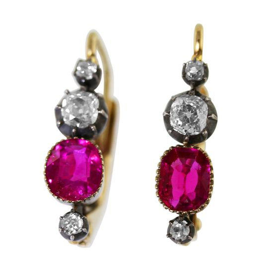 Burma Ruby Diamond Silver-Topped Gold Earrings. A beautiful pair of silver-topped 18 karat yellow gold, ruby and diamond earrings, set with 2 well-matched cushion-shaped rubies weighing approximately 1.90 carats, Burma no heat, and 6 old mine-cut diamonds