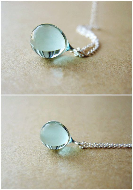 Colored Glaze Sterling silver Necklace Light Blue Mermaid tears Water Drop Color Glass Amber Handmade Verre Ball Girlfriend Gift: Simple Silver Necklace, Beautiful Necklace, Sterling Silver Necklace, Mermaid Tear, Girlfriend Gift, Mermaid Gift, Water Drop
