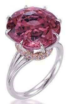 """8 """"claw"""" prong ring set with a Pink Tourmaline and light pink diamonds, by Tamir."""