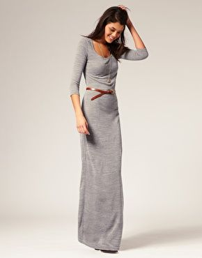 I have a dress like this, love it with the belt.  Just don't know if my curves could pull it off.: Winter Maxi Dress, Grey Maxi Dresses, Long Sleeve Maxi, Fall Winter, Fall Maxi Dresses