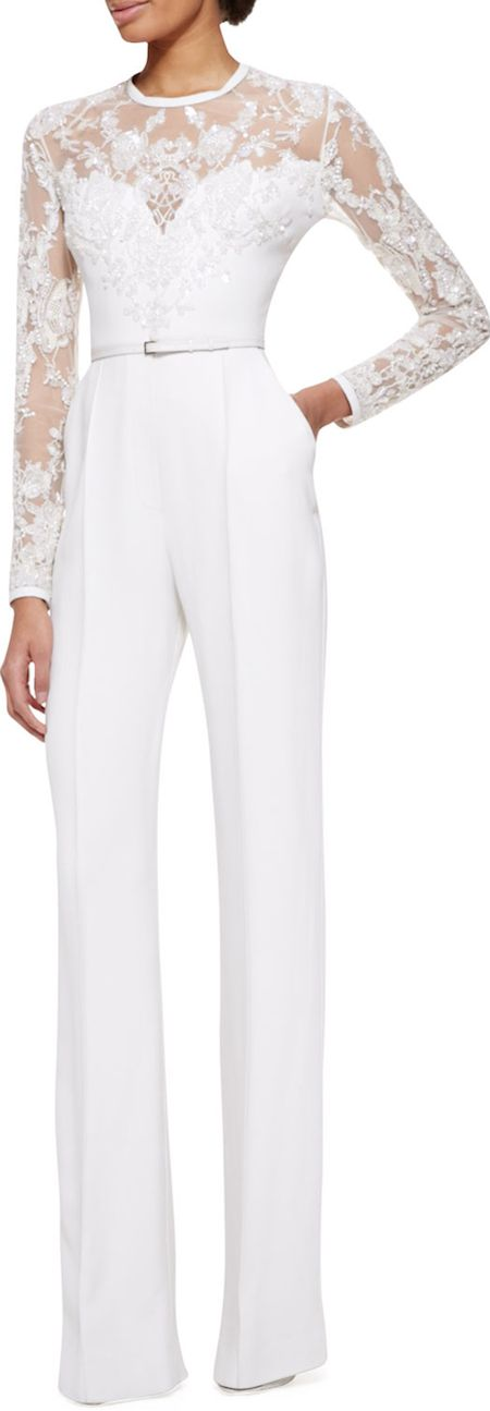 Long-Sleeve lace embellished jumpsuit by Elie Saab - a lovely alternative to the wedding dress! #lgbt: Lace Jumpsuit, Wedding Jumpsuit, Rehearsal Dinner, Elie Saab, Embellished Jumpsuit, Wedding Dress, Dinner Outfit, Sleeve Lace