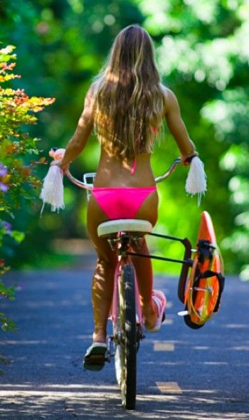 @sarah bearinger you need one of these for Jenny!: Bike Rides, Pink Bikini, Surfergirl, The Beach, Beach Cruiser, Bikini Bike, Summer Time