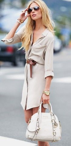 Simple neutral shirt dress..easy to throw on and look great and the MK bag just makes it that much better: Shirtdress, Michaelkor, Summer Work Outfit, Michael Kor, Ray Ban