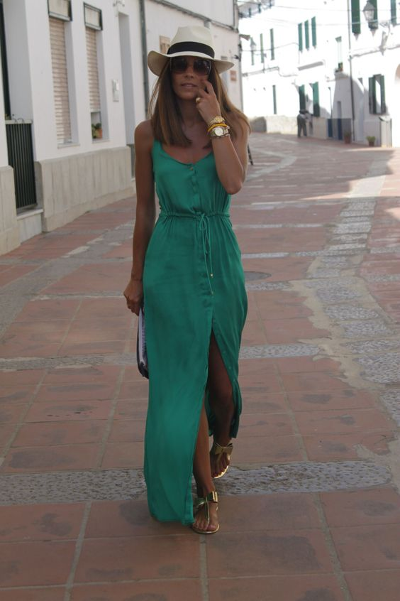 : Summer Outfit, Cancun Outfit, Long Summer Dress, Casual Summer Dress, Beach Vacation Outfit, Green Maxi Dress, Summer Beach Outfit, Florida Outfit
