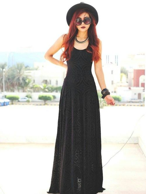 Walking through the Fields of the Nephilim - I am currently putting this outfit together with thrift store finds in the event of a show in the states.  Follow me for more darkly eclectic pins.: Nu Goth, Maxi Dresses, Summer Style, Black Maxi, Witchy Outfi