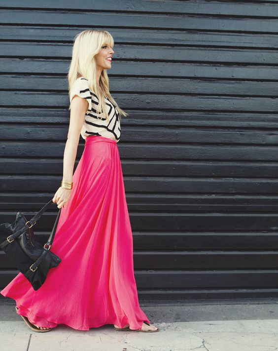 Ways to Wear a Maxi Skirt | thesassylife: Long Skirts, Bright Skirt, Bold Color, Hot Pink, Bright Maxi, White Top, Maxi Skirts