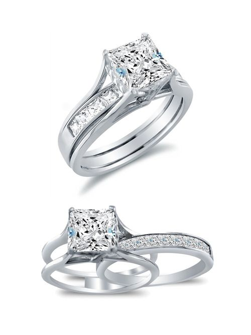 Sonia Jewels Solid 14k White Gold Bridal Set Princess Cut Solitaire Engagement Ring with Matching Channel Set Wedding Band
