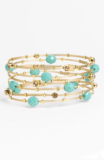 Love these swarovski crystal and gold bracelets with faceted blue beads (set of 6) from Nordstrom.  Love it!