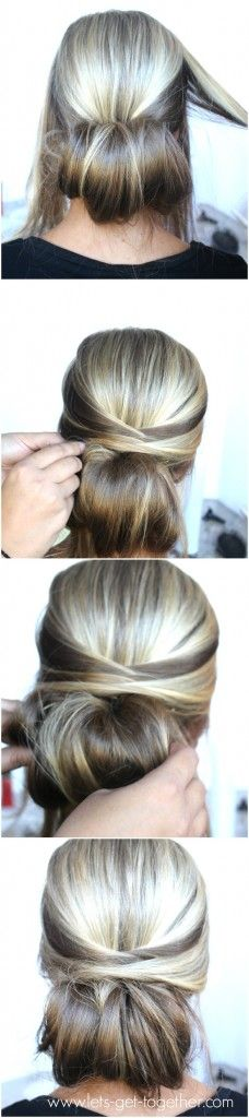 5-Step Dos from Let's Get Together - love this one! Click thru for tutorial. #hair #easyhair: Hairdos, Updos, Hair Do, Low Bun, Hair Updo, Hair Color, Easy Updo