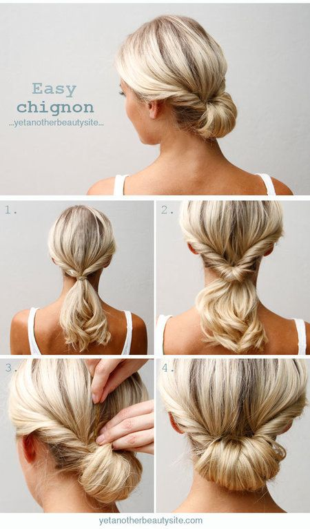 Easy Chignon Hairstyle (This is my favorite easy updo, so glad I found a tutorial. xo, Belle): Bridesmaid Updo Hairstyles, Beautiful Hairstyles, Hairdos, Girls Hair Style, Easy Wedding Updo, Hair Color