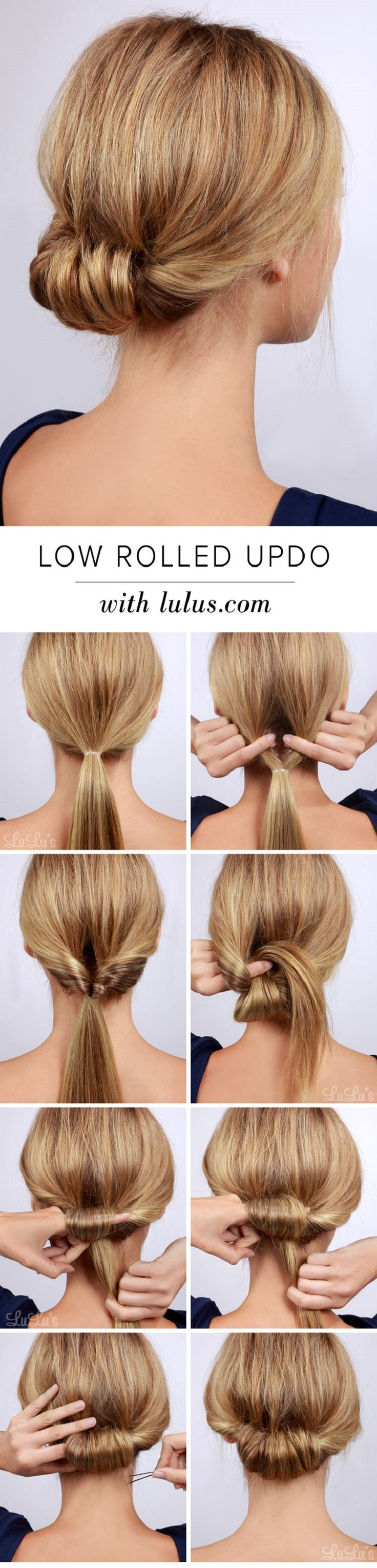 Low Rolled Updo Hair Tutorial - 15 Best Beauty Tutorials for Winter 2014-2015 | GleamItUp: Simple Updo, Easy Hair Tutorial, Hair Bun, Low Bun, Hair Updo, Easy Updo, Hair Styles Updo