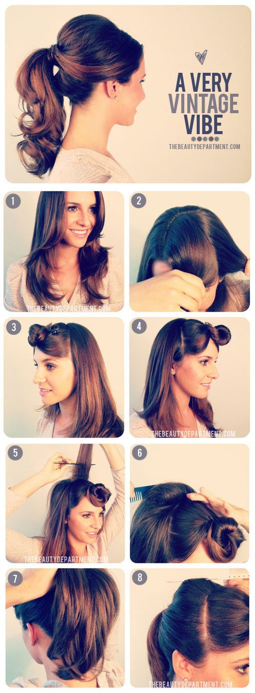 Sandra Dee's 1950s Ponytail | 27 Gorgeously Dreamy Vintage-Inspired Hair Tutorials http://thebeautydepartment.com/2012/09/1950s-inspired-ponytail/: Pony Tail, Hairstyles, Hair Styles, Hairdos, Vintage Ponytail, Hair Tutorial, Hair Do, Updo