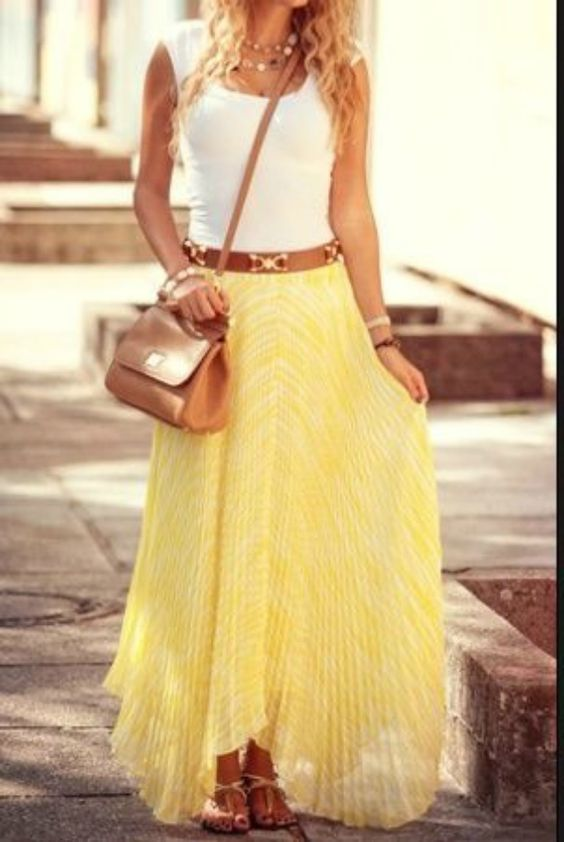 Adorable yellowish maxi skirt and sleeveless white top, best for summer... (click on picture to see more stuff): Summer Fashion, Summeroutfit, Summer Outfit, White Top