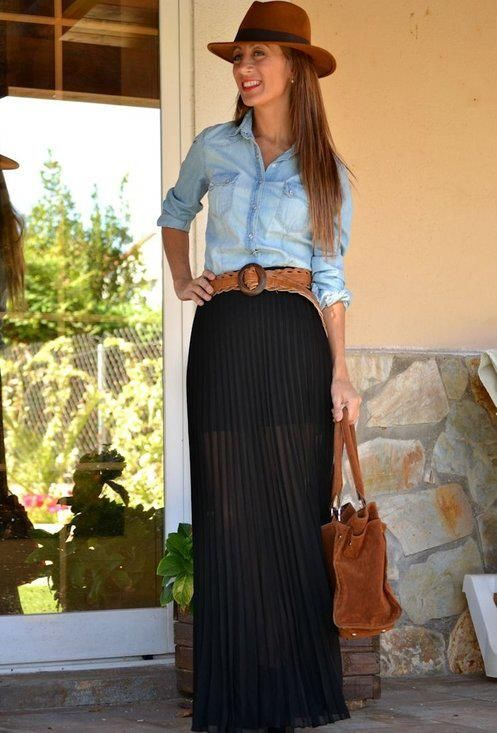 Maxi skirt for fall - belted long sleeve chambray shirt: Chambray Shirts, Denim Shirts, Black Maxi Skirts, Black Skirts, Denim Top, Awesome Outfit