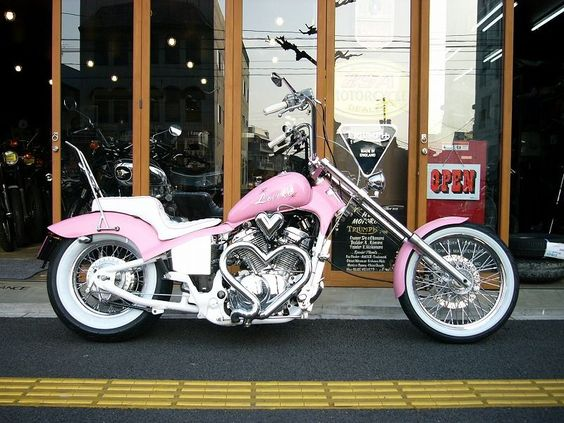 Pink Honda motorcycle. Check out the multiple chrome hearts.: Harley Davidson, Pink Chopper, Pink Motorcycles, Pink Bike, Harley S, Custom Bikes, Bikes Cars, Custom Pink